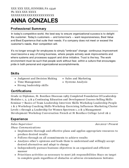 Sales Supervisor resume sample Pennsylvania