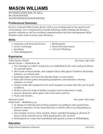 Table Games Dealer resume example Pennsylvania
