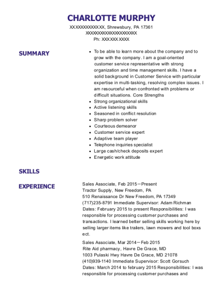 Sales Associate resume sample Pennsylvania