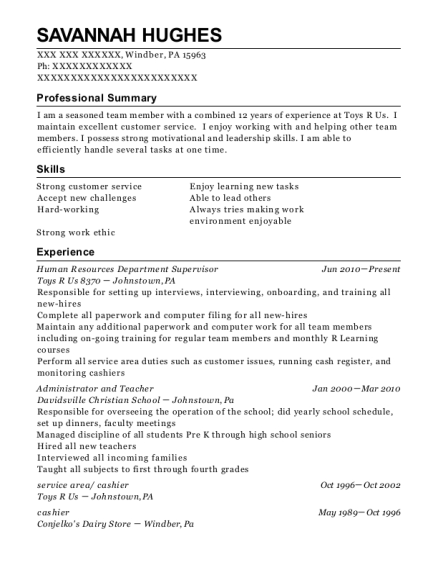 Human Resources Department Supervisor resume template Pennsylvania