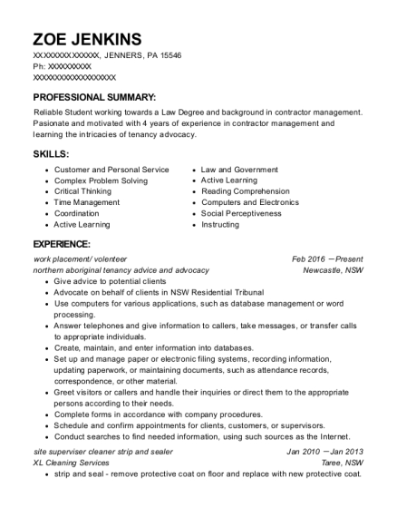 work placement resume template Pennsylvania