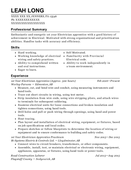 1st Year Electrician Apprentice resume format Pennsylvania