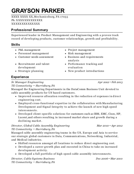 Sr Manager Engineering resume sample Pennsylvania