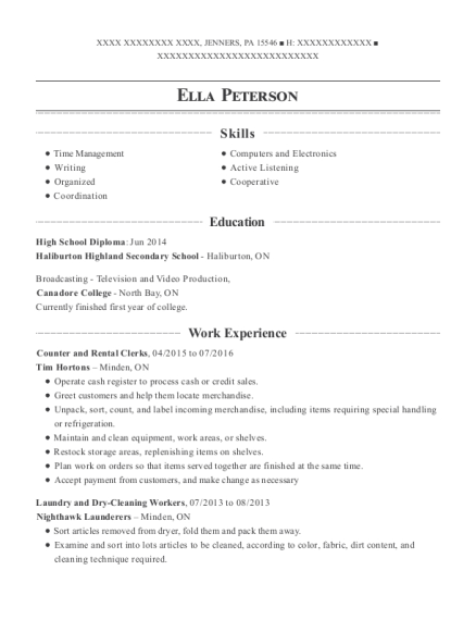 Counter and Rental Clerks resume example Pennsylvania