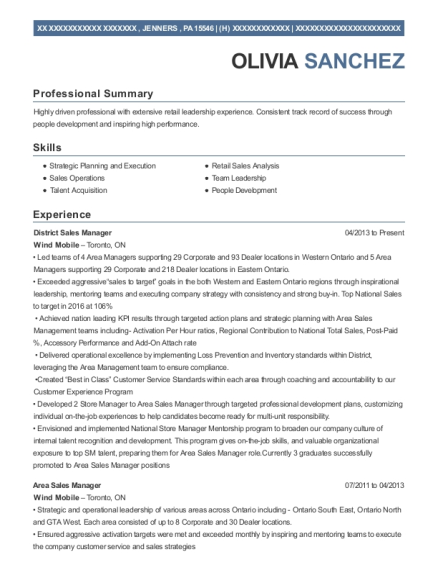 District Sales Manager resume sample Pennsylvania