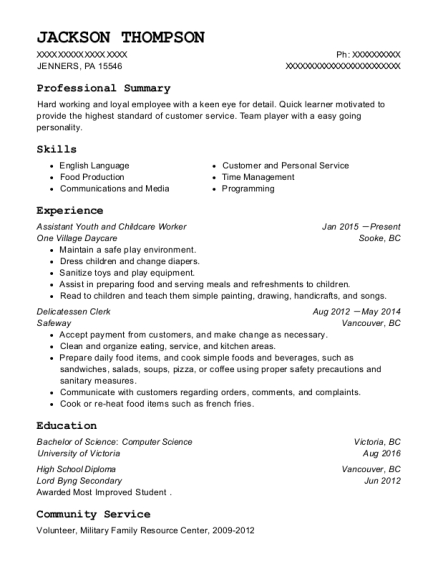 Assistant Youth and Childcare Worker resume format Pennsylvania