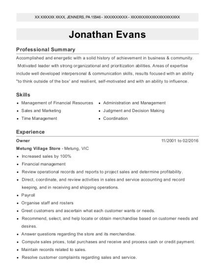 Owner resume template Pennsylvania