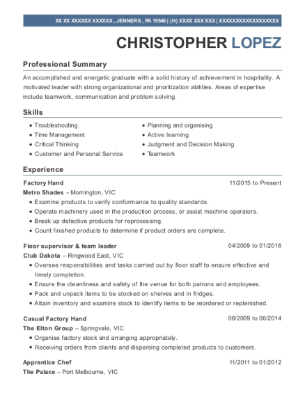 Factory Hand resume format Pennsylvania