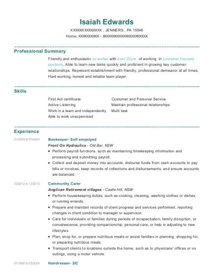 Bookeeper Self empolyed resume template Pennsylvania
