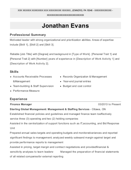 Finance Manager resume example Pennsylvania
