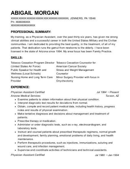 Physician Assistant Certified resume sample Pennsylvania