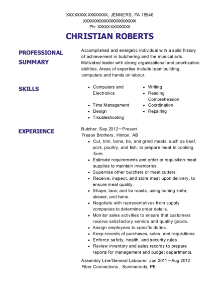 Butcher resume example Pennsylvania