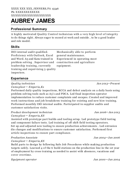 Quality technician resume example Pennsylvania