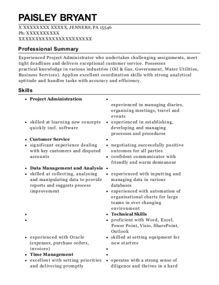 Reporting and Data Coordinator resume sample Pennsylvania