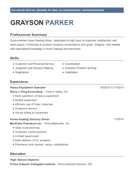 Heavy Equipment Operator resume sample Pennsylvania