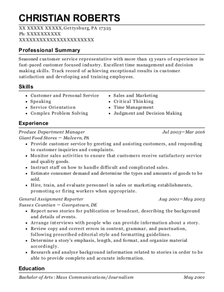 Giant Food Stores Produce Department Manager Resume Sample