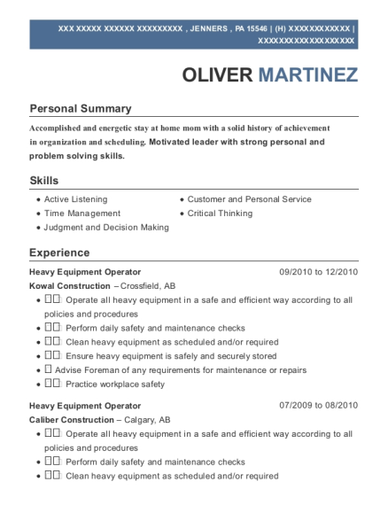 Heavy Equipment Operator resume example Pennsylvania