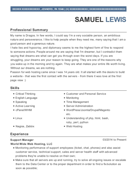Support Manager resume example Pennsylvania