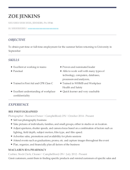 Photographer Business Owner resume example Pennsylvania