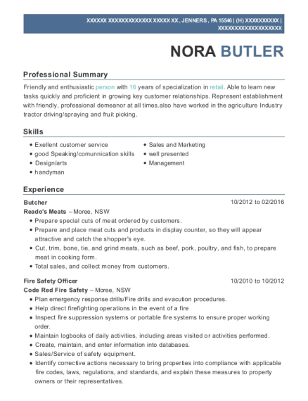 Butcher resume template Pennsylvania