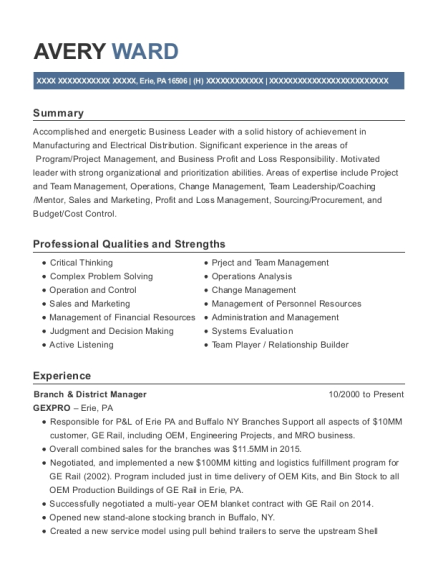 Branch & District Manager resume format Pennsylvania
