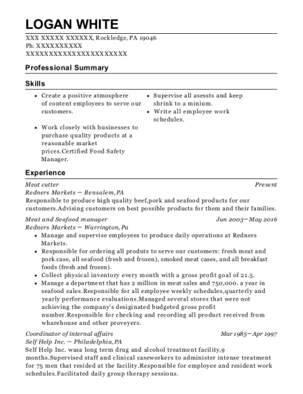 Meat Cutter resume sample Pennsylvania