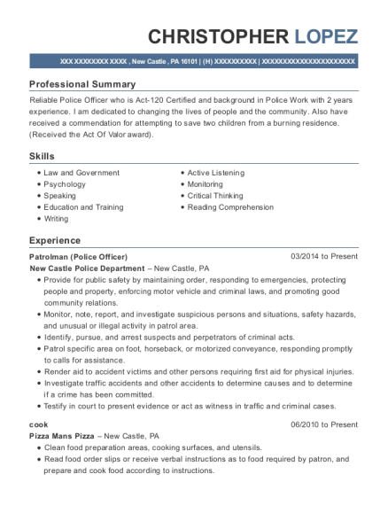 Patrolman resume example Pennsylvania