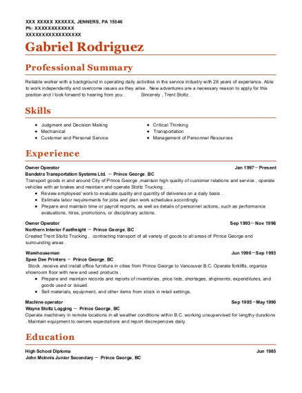 Owner Operator resume example Pennsylvania