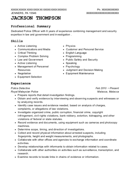 Police Detective resume template Pennsylvania