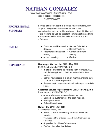 Newspaper Carrier resume example Pennsylvania