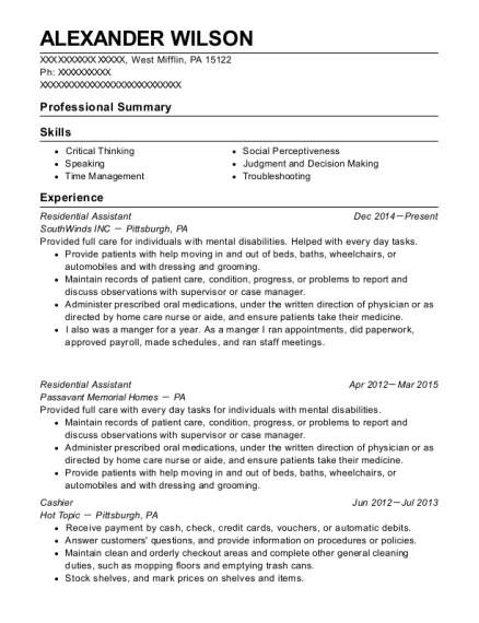 Residential Assistant resume template Pennsylvania