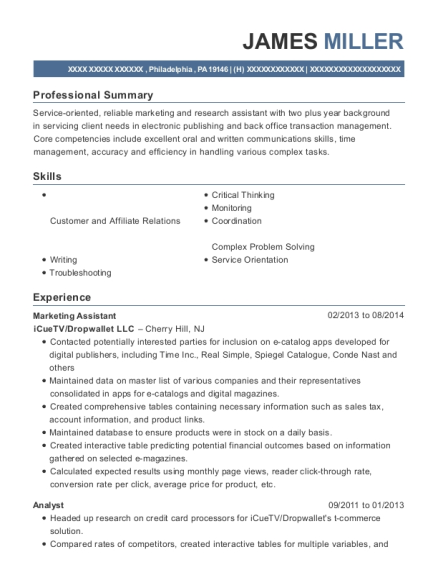 Marketing Assistant resume sample Pennsylvania