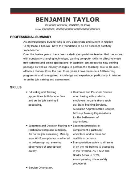 Part Time Butcher resume example Pennsylvania