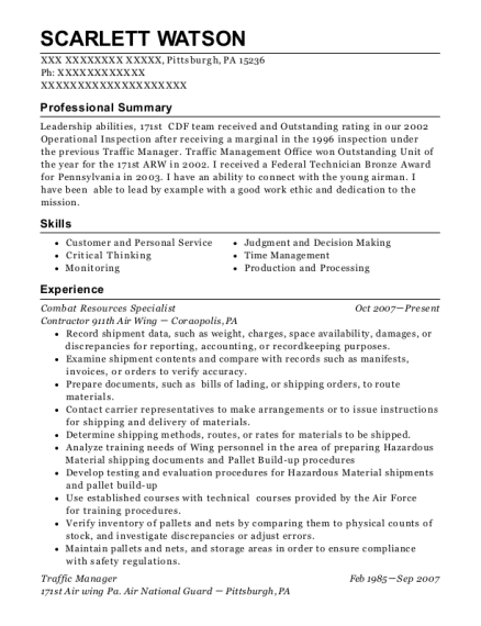 Combat Resources Specialist resume sample Pennsylvania