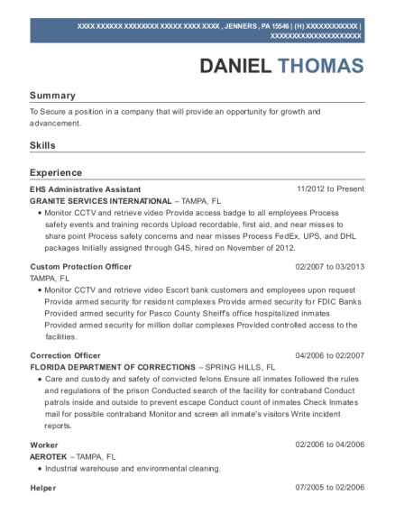 G4s Secure Solutions Custom Protection Officer Resume Sample