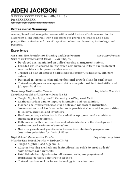 Assistant Vice President of Training and Development resume sample Pennsylvania