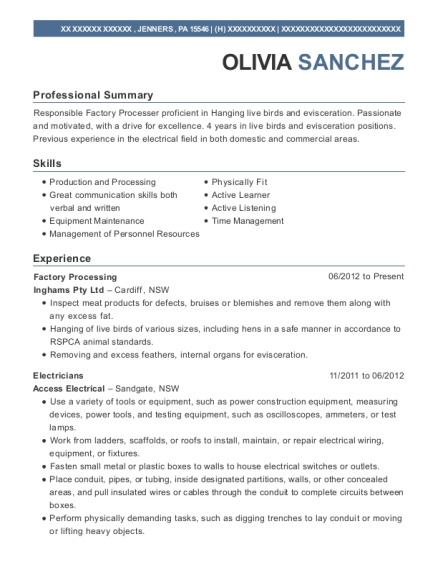 Factory Processing resume format Pennsylvania