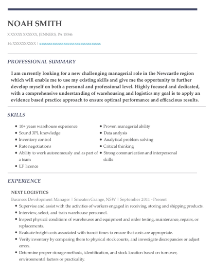 Business Development Manager resume template Pennsylvania