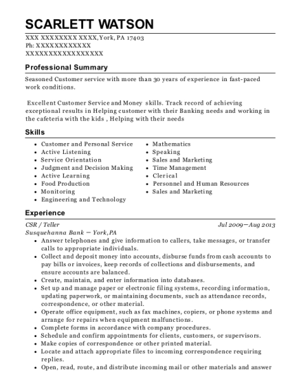 CSR resume sample Pennsylvania