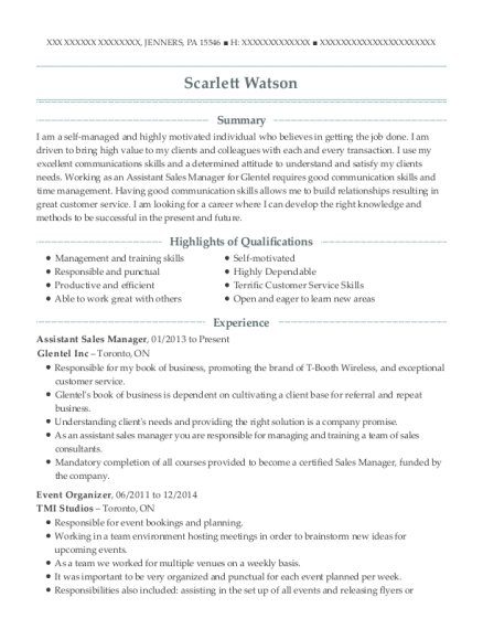Assistant Sales Manager resume example Pennsylvania