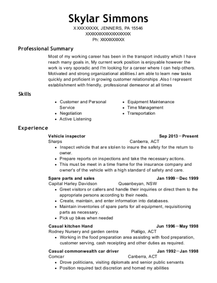 Vehicle inspector resume template Pennsylvania