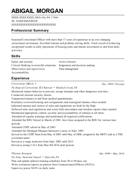 Corrections Officer 1 resume example Pennsylvania