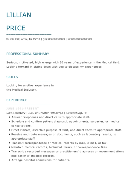 Unit Secretary resume sample Pennsylvania