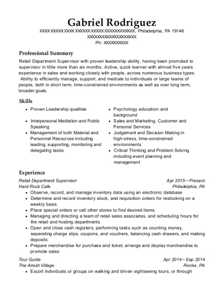 Retail Department Supervisor resume template Pennsylvania