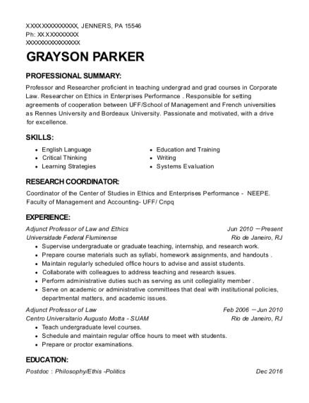 Adjunct Professor of Law and Ethics resume sample Pennsylvania