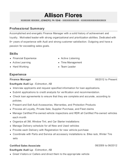 Finance Manager resume template Pennsylvania
