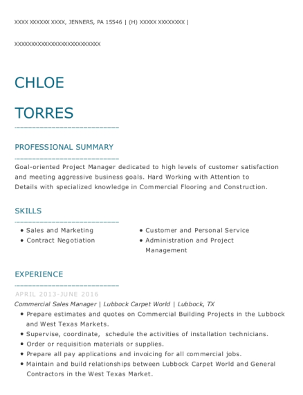 Commercial Sales Manager resume template Pennsylvania