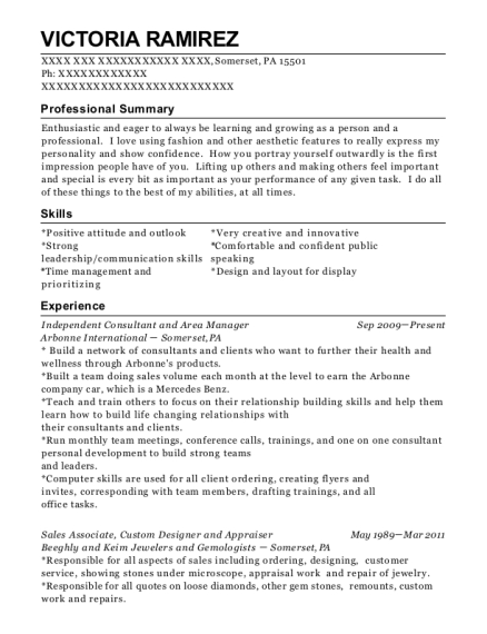 Independent Consultant and Area Manager resume template Pennsylvania