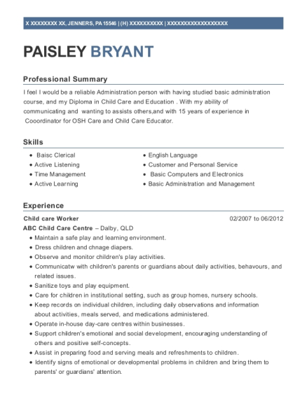 Child care Worker resume format Pennsylvania