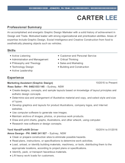 Marketing Assistant resume template Pennsylvania